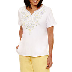 Alfred Dunner Blue Lagoon Short Sleeve V Neck T-Shirt-Womens