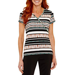 Lark Lane Short Sleeve V Neck T-Shirt-Womens