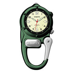 Dakota Mini-Clip Microlight Carabiner Pocket Watch, Green