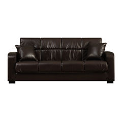 Sammy Track-Arm Faux-Leather Convert-a-Couch®