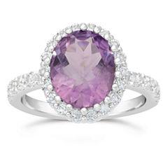 Womens Genuine Purple Amethyst 10K Sterling Silver Bypass Ring