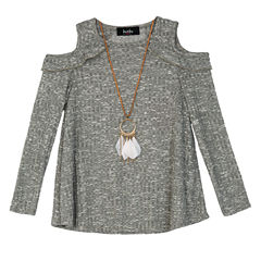 by&by girlLong Sleeve Cold Shoulder Top- Big Kid Girls