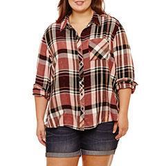 Arizona Long Sleeve Boyfriend Plaid Shirt-Juniors Plus