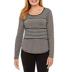 Silverwear Long Sleeve Crew Neck T-Shirt-Petites