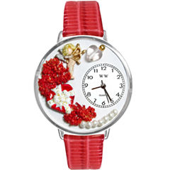 Whimsical Watches Personalized Valentine's Day Womens Silver-Tone Bezel Red Leather Strap Watch