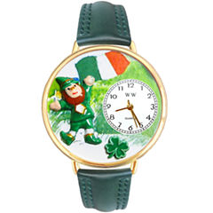 Whimsical Watches Personalized St. Patrick's Day Womens Gold-Tone Bezel Green Leather Strap Watch