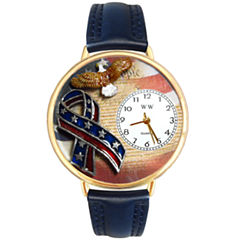 Whimsical Watches Personalized America Patriotic Womens Gold-Tone Bezel Blue Leather Strap Watch