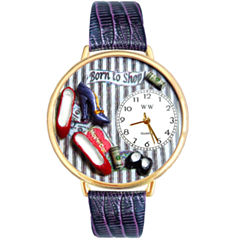 Whimsical Watches Personalized Shoe Lover Womens Gold–Tone Bezel Purple Leather Strap Watch