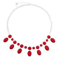 Liz Claiborne® Red Stone Silver-Tone Shower Necklace