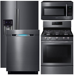 Samsung 4-pc. Gas Kitchen Package- Black Stainless Steel