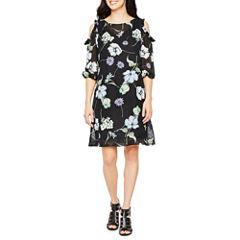 Danny & Nicole 3/4 Sleeve Floral Shift Dress