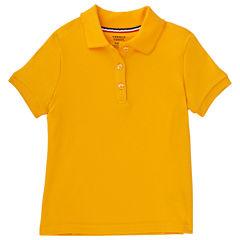 French Toast Short Sleeve Interlock Polo With Picot Collar Short Sleeve Solid Polo Shirt - Preschool Girls
