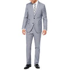 JF J. Ferrar Blue Gray Sharkskin Suit Separates-Slim
