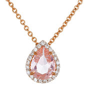 Sparkle Allure™ Pink and White Cubic Zirconia Teardrop Pendant Necklace