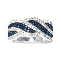 Blue and Clear Crystal Silver-Plated Wave Ring