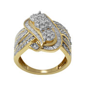 diamond blossom 1½ CT. T.W. Diamond 10K Yellow Gold 3-Cluster Swirl Ring