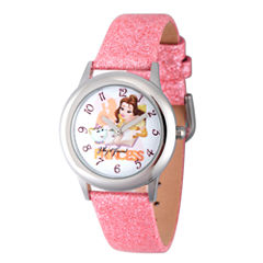 Disney Princess Girls Pink Glitz Beauty and The Beast Belle Time Teacher Strap Watch W002922