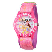Disney Princess Girls Pink Beauty and The Beast Believe Time Teacher Strap Watch W002930