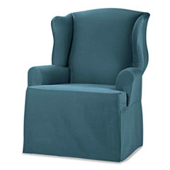 SURE FIT® Cotton Duck 1-pc. Wing Chair Slipcover