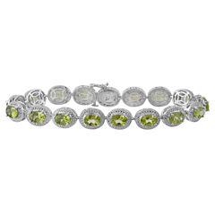 Genuine Peridot & Diamond Accent Sterling Silver Bracelet