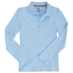 French Toast Long Sleeve Knit Polo Shirt - Preschool Girls