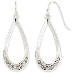 Liz Claiborne® Silver-Tone & Crystal Teardrop Earrings