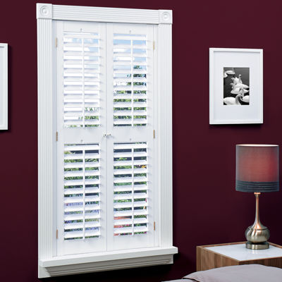 JCPenney Home™ Faux Wood Plantation Shutters With Mid Rail   2 Panels