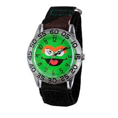 Sesame Street Boys Green Camo Oscar The Grouch Time Teacher Strap Watch W003152