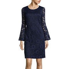 Robbie Bee® Long Bell-Sleeve Lace Sheath Dress