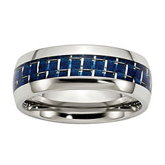 Personalized Mens 8mm Stainless Steel & Blue Carbon Fiber Inlay Wedding Band