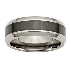 Personalized Mens 8mm Titanium & Black Ceramic Inlay Wedding Band