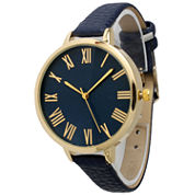 Olivia Pratt Womens Gold-Tone Navy Leather Strap Watch 14095