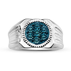 Mens 1/10 CT. T.W. Color-Enhanced Blue Diamond Sterling Silver Ring