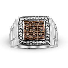 Mens 1/10 CT. T.W. Color-Enhanced Champagne Diamond Sterling Silver Ring