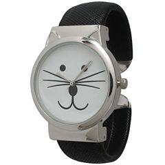 Olivia Pratt Womens Tomcat Dial Black Leather Cuff Watch 13895