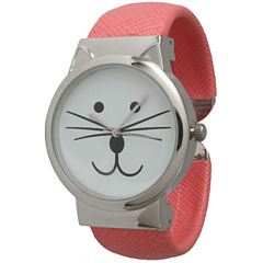 Olivia Pratt Womens Tomcat Dial Coral Leather Cuff Watch 13895
