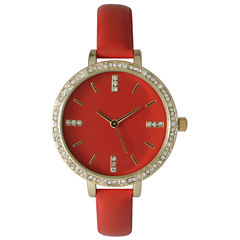 Olivia Pratt Womens Rhinestone Bezel Rhinestone Dial Red Leather Watch 15321