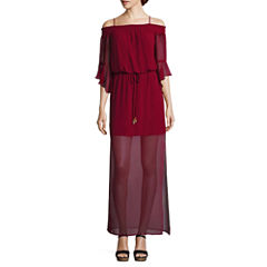 City Triangle 3/4 Sleeve Maxi Dress-Juniors