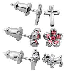 3 Pair Pink Crystal Sterling Silver Earring Sets