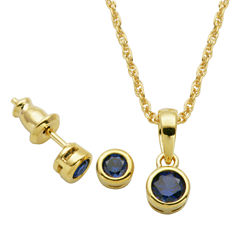 Girls 2-pc. Blue Sapphire 18K Gold Over Silver Jewelry Set
