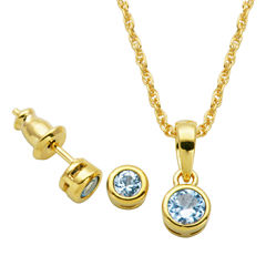 Girls 2-pc. Blue Spinel 18K Gold Over Silver Jewelry Set