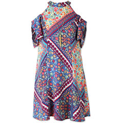 Speechless Print Cold Shoulder Peasant Dress - Girls 7-16