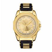Mens Jbw Gold Tone And Black Diamond Accent Strap Watchj6332A