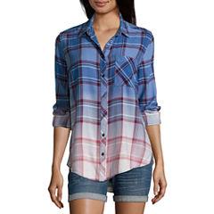 Arizona Long Sleeve Boyfriend Plaid Shirt-Juniors