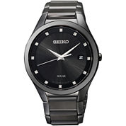 Seiko® Mens Black Diamond-Accent Watch SNE243