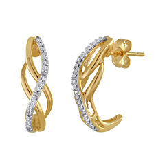 1/10 CT. T.W. Diamond 10K Yellow Gold Swirl Earrings