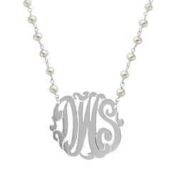 Personalized Sterling Silver 32mm Cultured Freshwater Pearl Chain Monogram Necklace