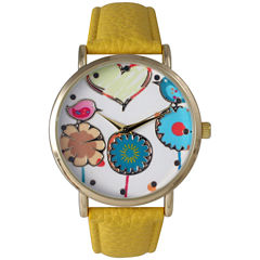 Olivia Pratt Womens Multicolor Heart, Birds And Flowers Dial Yellow Leather Watch 26362Yellow