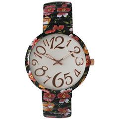 Olivia Pratt Womens Black Red Orange Floral Expansion Band Watch 25975Black Red Orange
