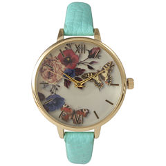 Olivia Pratt Womens Gold-Tone Butterfly And Flowers Print Dial Mint Leather Strap Watch 14962